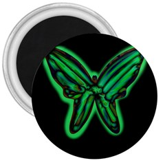 Green Neon Butterfly 3  Magnets by Valentinaart