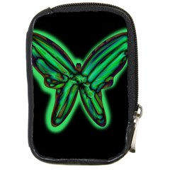 Green Neon Butterfly Compact Camera Cases by Valentinaart