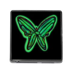 Green Neon Butterfly Memory Card Reader (square) by Valentinaart