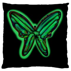 Green Neon Butterfly Large Flano Cushion Case (two Sides) by Valentinaart