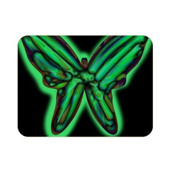 Green Neon Butterfly Double Sided Flano Blanket (mini)  by Valentinaart