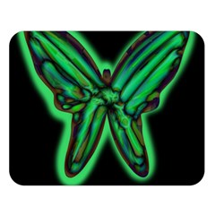 Green Neon Butterfly Double Sided Flano Blanket (large)  by Valentinaart