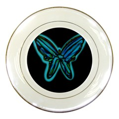 Blue butterfly Porcelain Plates by Valentinaart