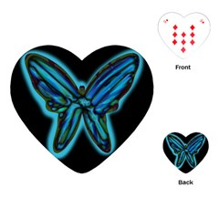 Blue Butterfly Playing Cards (heart)  by Valentinaart