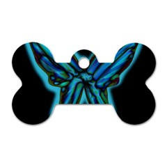 Blue Butterfly Dog Tag Bone (one Side) by Valentinaart