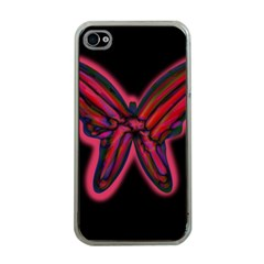 Red Butterfly Apple Iphone 4 Case (clear) by Valentinaart