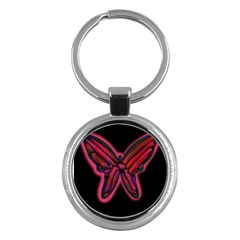 Red Butterfly Key Chains (round)  by Valentinaart