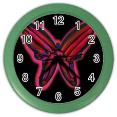 Red butterfly Color Wall Clocks