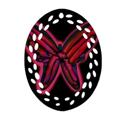 Red Butterfly Ornament (oval Filigree)  by Valentinaart