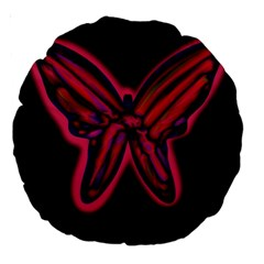 Red Butterfly Large 18  Premium Round Cushions by Valentinaart