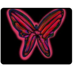 Red Butterfly Double Sided Fleece Blanket (medium)  by Valentinaart
