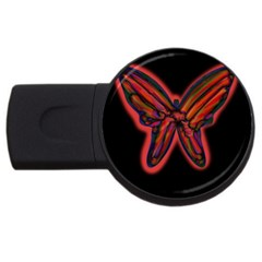 Red Butterfly Usb Flash Drive Round (2 Gb)  by Valentinaart