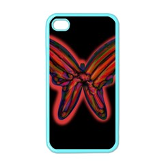 Red Butterfly Apple Iphone 4 Case (color) by Valentinaart