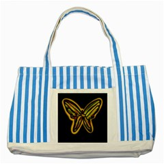 Night Butterfly Striped Blue Tote Bag by Valentinaart