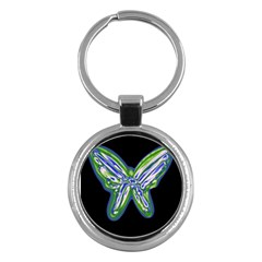 Green Neon Butterfly Key Chains (round)  by Valentinaart