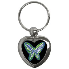Green Neon Butterfly Key Chains (heart)  by Valentinaart