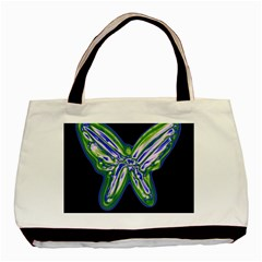 Green Neon Butterfly Basic Tote Bag by Valentinaart