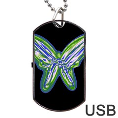 Green Neon Butterfly Dog Tag Usb Flash (one Side) by Valentinaart