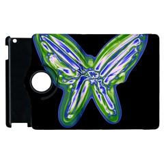Green Neon Butterfly Apple Ipad 2 Flip 360 Case by Valentinaart