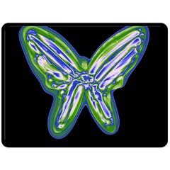Green Neon Butterfly Double Sided Fleece Blanket (large)