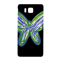 Green Neon Butterfly Samsung Galaxy Alpha Hardshell Back Case by Valentinaart