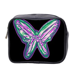 Neon Butterfly Mini Toiletries Bag 2 Side by Valentinaart