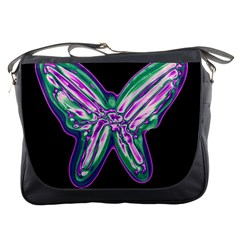 Neon Butterfly Messenger Bags by Valentinaart