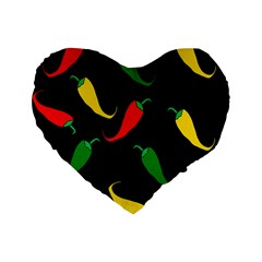 Chili Peppers Standard 16  Premium Heart Shape Cushions by Valentinaart