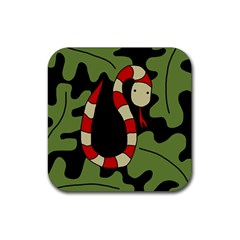 Red Cartoon Snake Rubber Square Coaster (4 Pack)  by Valentinaart