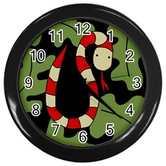 Red Cartoon Snake Wall Clocks (black) by Valentinaart