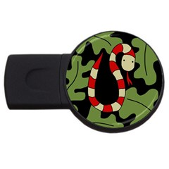 Red cartoon snake USB Flash Drive Round (1 GB)  by Valentinaart