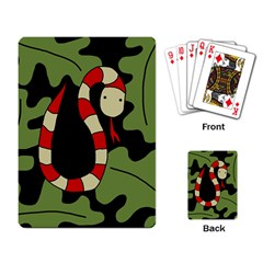 Red Cartoon Snake Playing Card by Valentinaart