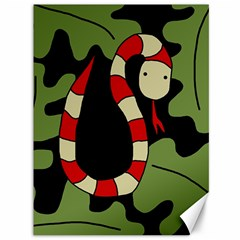 Red Cartoon Snake Canvas 36  X 48   by Valentinaart