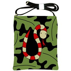 Red Cartoon Snake Shoulder Sling Bags by Valentinaart