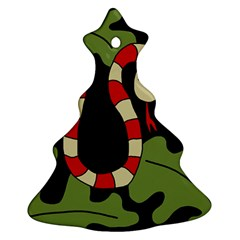 Red Cartoon Snake Ornament (christmas Tree) by Valentinaart