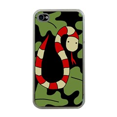 Red Cartoon Snake Apple Iphone 4 Case (clear) by Valentinaart