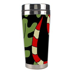 Red Cartoon Snake Stainless Steel Travel Tumblers by Valentinaart
