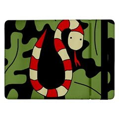 Red Cartoon Snake Samsung Galaxy Tab Pro 12 2  Flip Case by Valentinaart