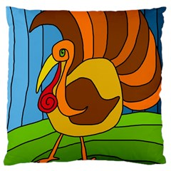 Thanksgiving Turkey  Large Flano Cushion Case (one Side) by Valentinaart