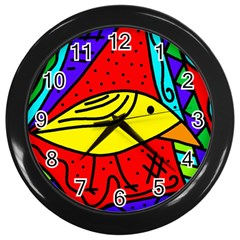 Yellow Bird Wall Clocks (black) by Valentinaart