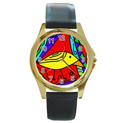 Yellow Bird Round Gold Metal Watch by Valentinaart