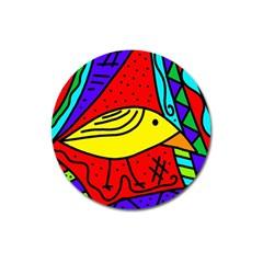 Yellow bird Magnet 3  (Round) by Valentinaart