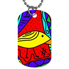 Yellow Bird Dog Tag (two Sides) by Valentinaart