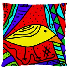 Yellow Bird Large Cushion Case (one Side) by Valentinaart