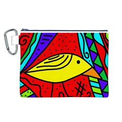 Yellow Bird Canvas Cosmetic Bag (l) by Valentinaart