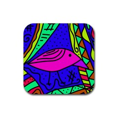 Pink bird Rubber Coaster (Square)  by Valentinaart