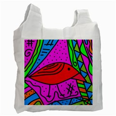 Red Bird Recycle Bag (one Side) by Valentinaart