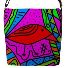 Red Bird Flap Messenger Bag (s) by Valentinaart