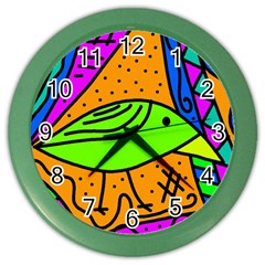 Green bird Color Wall Clocks by Valentinaart