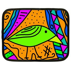 Green Bird Netbook Case (xxl)  by Valentinaart